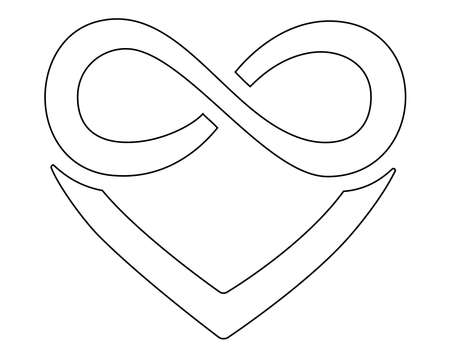 Heart and infinity - polyamory sign - vector linear illustration for coloring pages, icons or pictograms. Outline. A sign of heart and infinity, endless love, a large number of partners.
