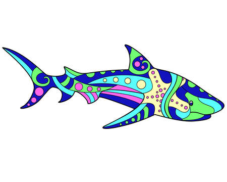 Shark - vector linear full color illustration. Ocean animal - multicolored white shark with patterns. Template for stained glass, batik or coloring. The seahorse is a vivid picture Vettoriali