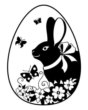 Easter egg on which the rabbit, flowers and butterflies are drawn - vector silhouette illustration. Easter bunny with a bow on an egg and spring flowers with butterflies - an openwork silhouette.