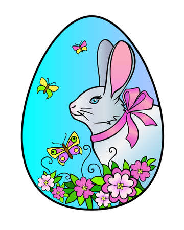 Easter egg on which a rabbit, flowers and butterflies are drawn - vector full-color illustration. Easter bunny with a bow on an egg and spring flowers with butterflies. Vettoriali