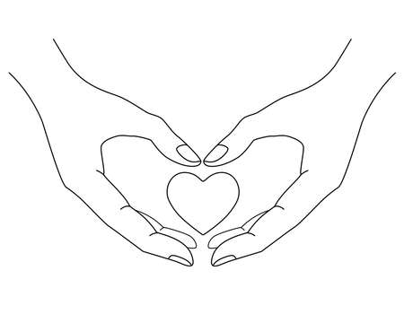 Heart in hands vector editable outline - linear picture. Outline. Heart in hands is a symbol of charity, trust, medicine. Caring and love. St. Valentine's Day.