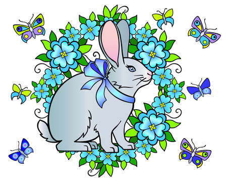 Cute rabbit surrounded by flowers and butterflies - spring Easter vector full color illustration. A beautiful bunny with a bow on the neck, flowers, leaves and butterflies in blue and lilac shades.