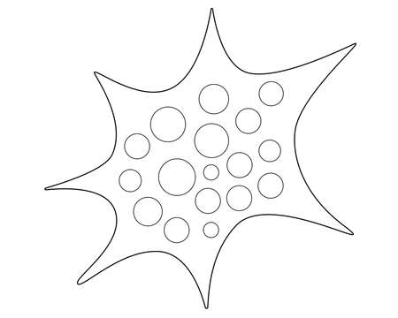 Amoeba - microorganism - vector linear illustration for coloring . Bacteria, amoeba and other microbes are elements of the microworld for a coloring book or pictogram. Outline.