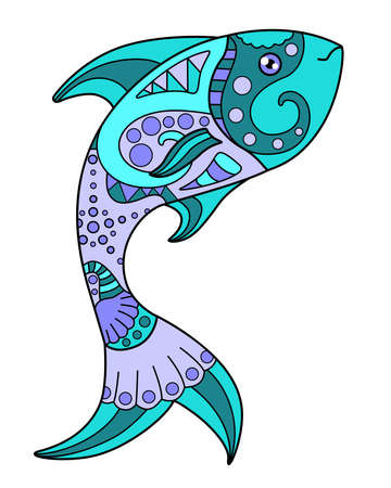 Fish - vector linear full color  with sea animal. Template for stained glass, batik or coloring.