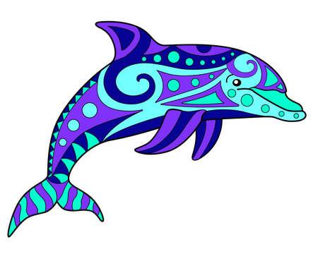 Dolphin linear full color  illustration Vettoriali