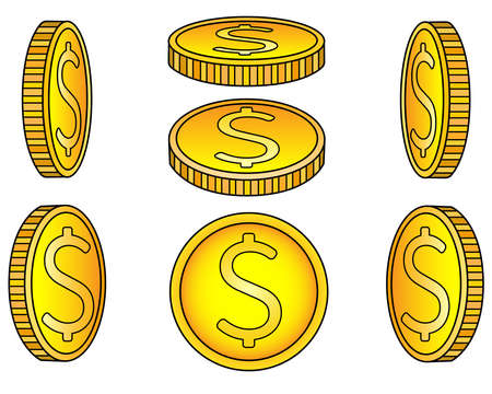 Coins. A set of coins from different angles. Abstract or game gold money drawn from different sides - vector full color linear illustration. Metallic money - set. Vettoriali