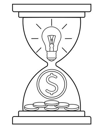 An hourglass with a light bulb and a coin is a metaphor: ideas and inventions bring money over time. Monetization of inventions