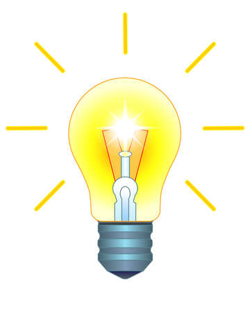 Light bulb. Burning, shining incandescent lamp - vector full color illustration. A vintage light bulb is a symbol of an idea, an invention, an idea that has come. Bright light bulb included