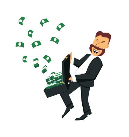 mucho dinero: El feliz hombre de negocios con una maleta de dinero