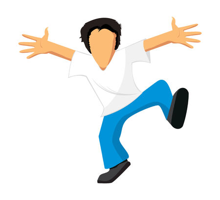 Dancing and jumping the man in jeans and a white T-short Vector