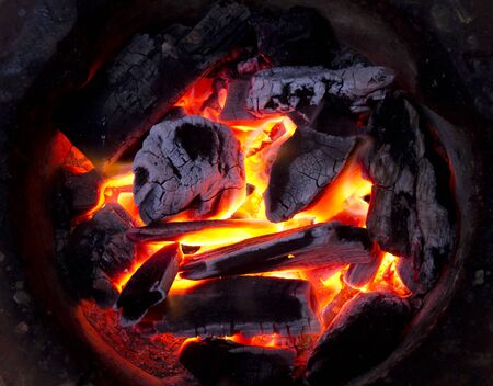 coals: coals on the fire for cooking Stock Photo