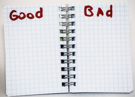 good and bad: Turn the notebook. Inscriptions marker of good, bad.