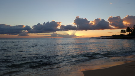 Magnificent sunset on Poipu Beach in Kauai, Hawaii (HI, USA)