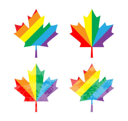 Icon Canada maple leaf. Rainbow gay and lesbian equality symbol LGBT. Vector illustration for gay-pride design, t-shirt