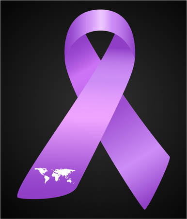 fibrosis: Vector illustration of stylish ribbon for World Lupus Day. Purple awareness realistic ribbon isolated on grey background