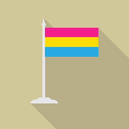 asexual: Pansexual pride LGBT flag with flagpole flat icon with long shadow.
