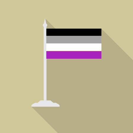 asexual: Asexual pride LGBT flag with flagpole flat icon with long shadow. Vector illustration EPS10. Illustration