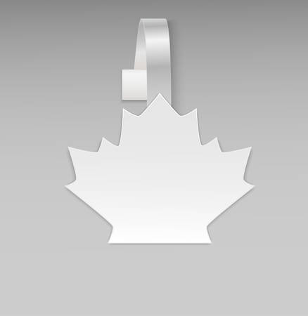 advertising wobbler: Empty vector blank white leaf maple paper plastic advertising price wobbler front view. Isolated on background. Advertising stickers for promotions, fall sales and discount offer. Vector illustration.