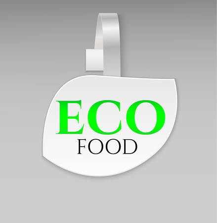 advertising wobbler: Vector blank shape white leaf eco food paper plastic advertising price wobbler front view. Isolated on background. Advertising price stickers for organic natural food and goods.Vector illustration