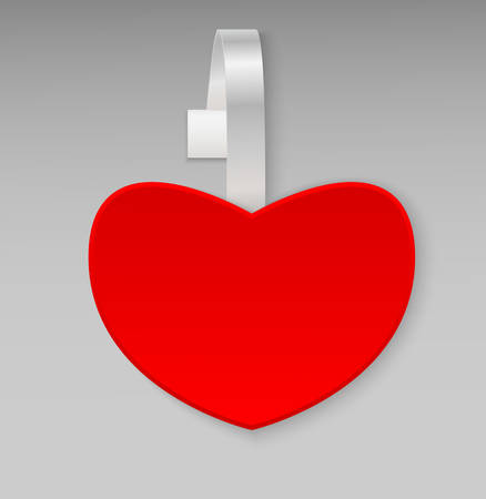 advertising wobbler: Empty vector blank shape red heart paper plastic advertising price wobbler front view. Isolated on background. Advertising price stickers for sale and discount Valentines Day. Vector illustration. Illustration