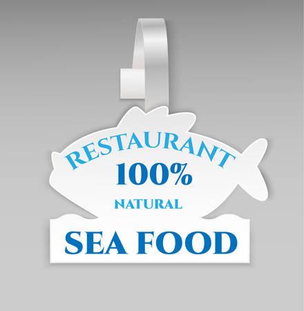 advertising wobbler: Restaurant 100% natural banner. Illustration