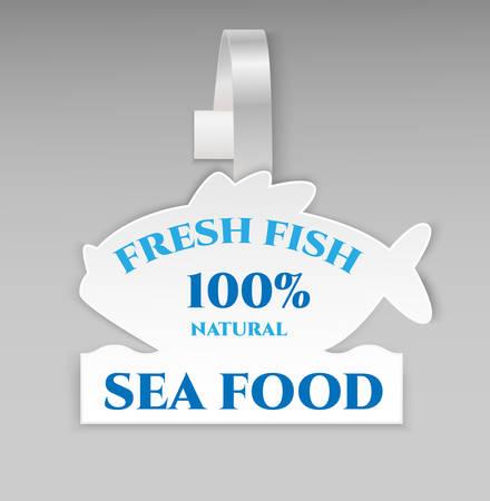advertising wobbler: Fresh fish 100% natural banner. Illustration
