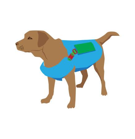 Illustrazione di vettore di salvataggio di retriver di labrador del cane del fumetto
