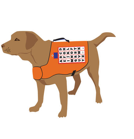 Cartoon labrador retriever rescue trains. Vector illustration