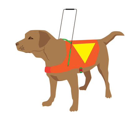 盲導犬ラブラドル ・ レトリーバー犬漫画。
