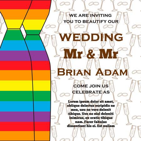 Wedding illustration for invitation cards lgbt community 矢量图像