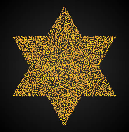 Six-pointed star. Vector illustration of an abstract dotted symbol Star of David. Judaism sacred geometry sign made in stippling technique.