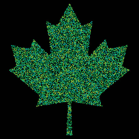 Pixel abstract maple leaf colorful shades. Mosaic print. For advertising booklets about the sale, covers, posters, invitation cards, textile, books, leaflets design. Summer and autumn theme sale.