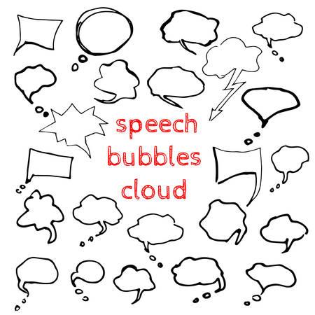 communication cartoon: Stickers of speech bubbles vector set. Blank empty speech bubbles for infographics vector illustration Illustration