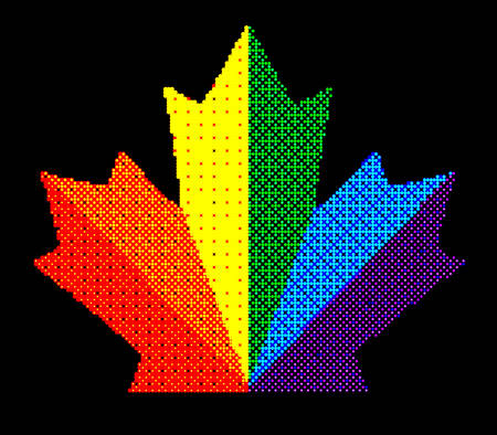 Pixel Abstract canada maple leaf colorful shades. Mosaic print. For advertising booklets, covers, posters, invitation cards, textile, leaflets design. Summer and autumn theme sale. Symbol LGBT pride