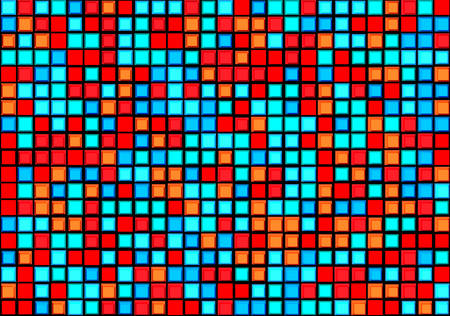 grid pattern: Blue and red pixels pattern. Illustration