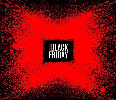 half price: Grunge Black Friday sale stamp. Modern design with black and red ink splash, brushes ink droplets, blots. Red on dark background. Vector grunge frame with space for your text.