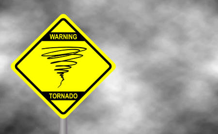 Warning tornado sign road.