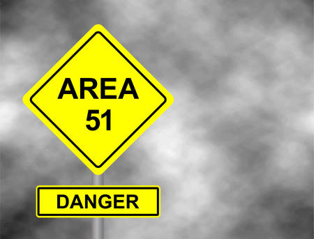 Yellow Area 51 road side sign illustration.