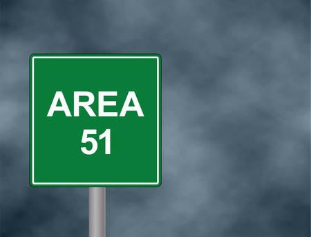 Area 51 roadside sign illustration.