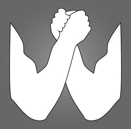 Arm wrestling silhouette. Arm wrestling, hands, vector illustration, for logo, your design. Two human hands holding each other vector icon in meaning Competition or Arm Wrestling. Vector illustration