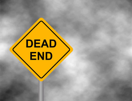 Dead End Traffic board isolated in sky background. Wrong way road sign prohibition icon illustration.