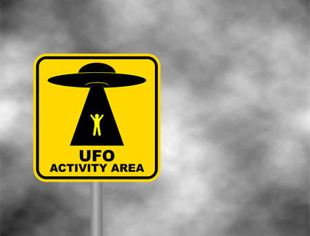 Humorous danger road signs for UFO.
