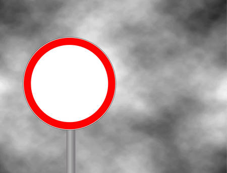 danger ahead: Traffic is prohibited sign isolated in sky background. Wrong way road sign prohibition icon illustration. Empty red road board for your text space and message. Vector illustration