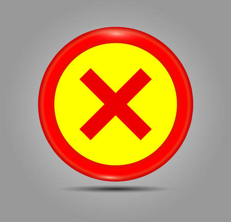 Simple web button: Circle and red cross. Cross symbol in red color, vector illustration. Accept red button glossy web icon on grey background.