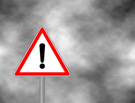 Yield Triangle Sign - Road traffic coordination symbol on clouds background. Road sign warning attention with an exclamation mark. Vector illustration