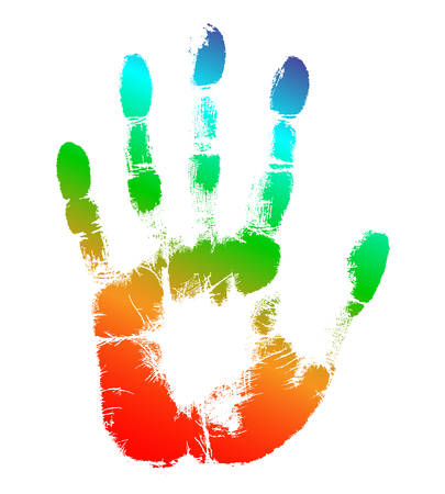 Print of hand of human, cute skin texture pattern, vector grunge illustration. Scanning the fingers, palm on white background Çizim