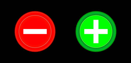 Plus and minus red and green circle 3D button . Add, cancel, or the plus and minus signs on buttons or circles icon isolated on black background. Vector illustration