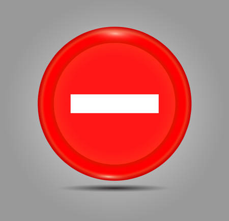 Minus sign icon. Negative symbol. Zoom out. Red circle button with icon. 3D button. Vector illustration isolate on a gray background Illustration