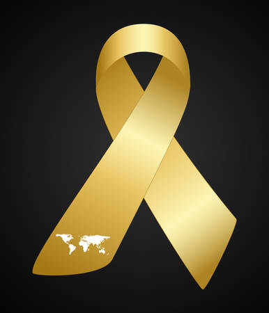 Childhood Cancer Day. Childhood Cancer Awareness Yellow Ribbon on dark background. Vector Illustration.