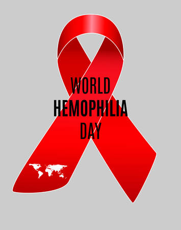 hemorragias: Realistic red ribbon, world hemophilia day symbol. Vector illustration.